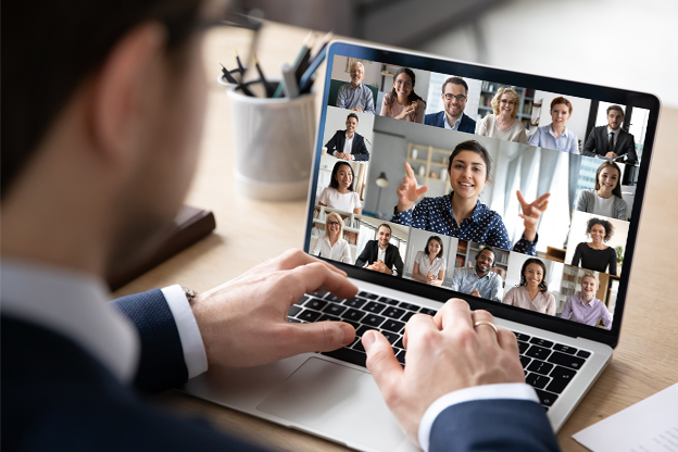 Laptop video conference with a team